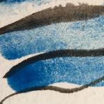 unsuccessful Egyptian Blue paint (over black ink). It's basically just sand barely adhered to the page.