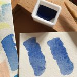 Lapis Lazuli swatches on the right, modern Ultramarine swatch on the left.
