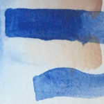 The darker blue here is the concentrated version (layered over some stray washes).