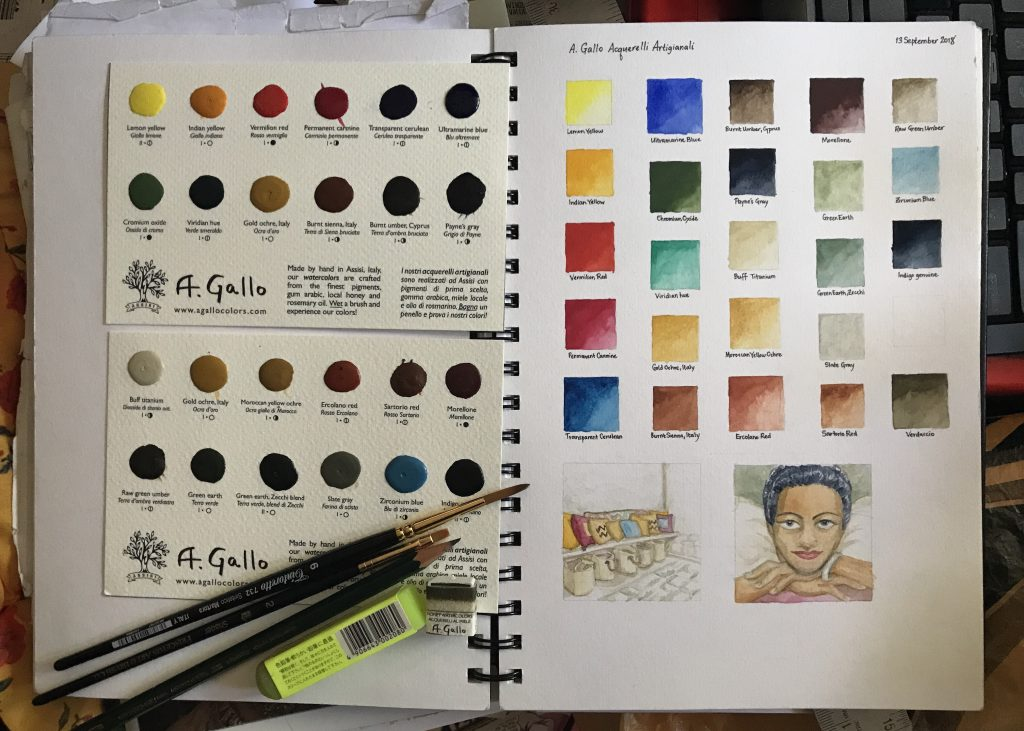 A. Gallo watercolour swatches