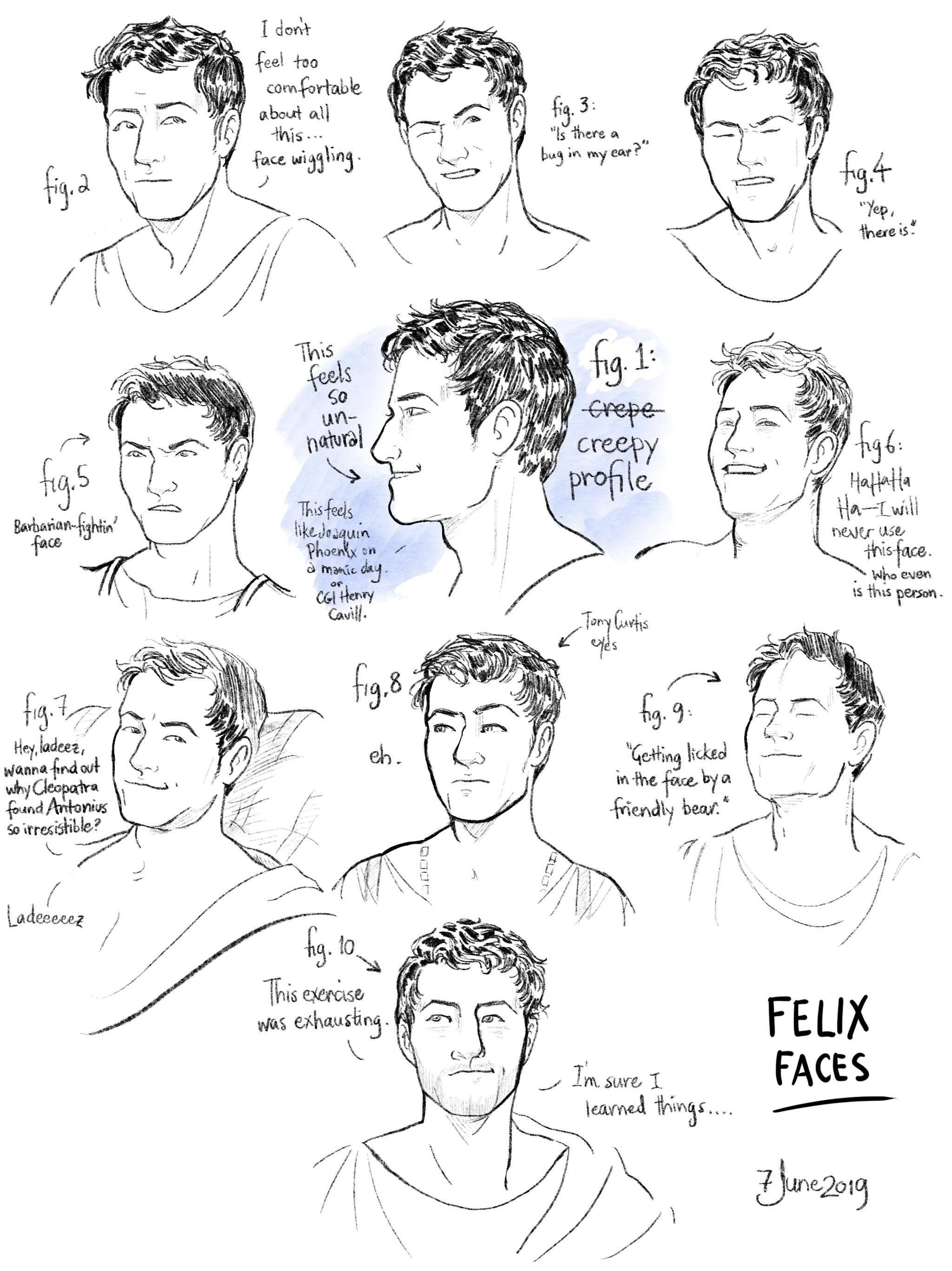 Head studies 4: Felix faces