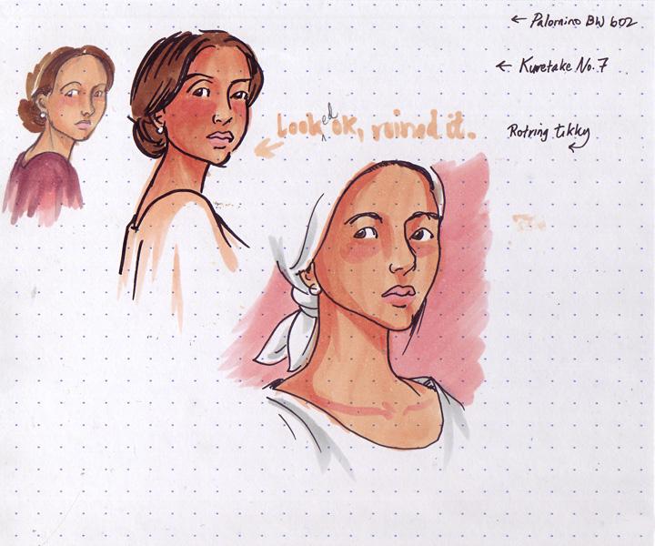 Rotring Tikky, Kuretake brush pen, Palomino pencil, Copic Ciao markers
