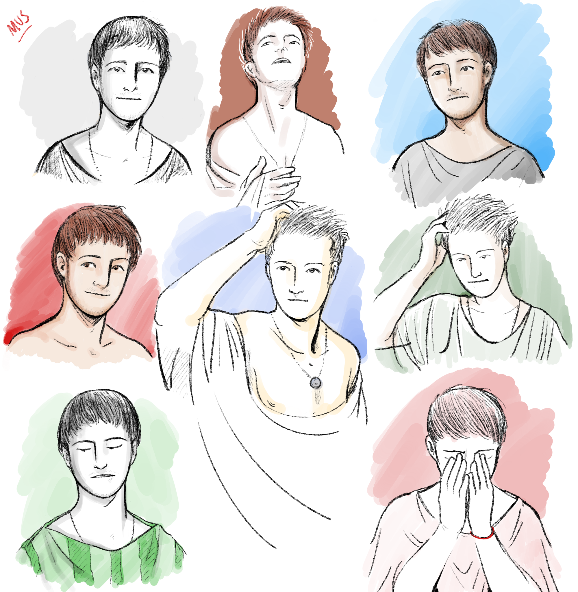 Head studies 2: Mus (younger and older versions)